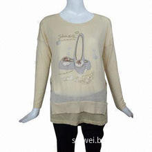 12gg Dolman-sleeved cashmere jumper with applique embroidery and glitter prints